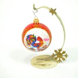 Новогодняя игрушка Р80Т шар 80 петух красный