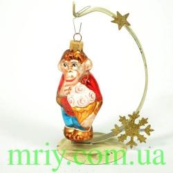 Новогодняя игрушка А 157 Обезьянка с мороженным
